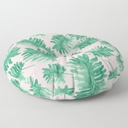 Plants on Pink Monstera Leaf Pattern Floor Pillow