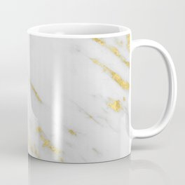 Marble - Shimmery Gold Marble on White Pattern Coffee Mug