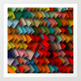 colorful rectangles with shadows Art Print