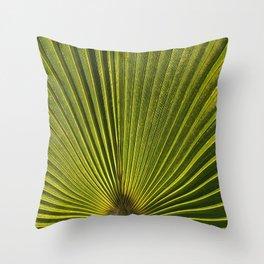 Green Plam Leaf Throw Pillow