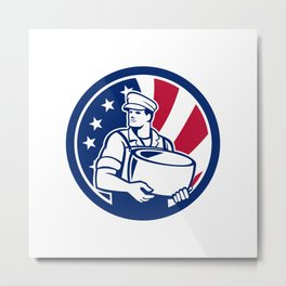 American Artisan Cheese Maker USA Flag Icon Metal Print