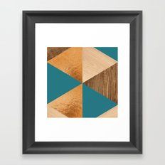 Gold Green Wood Framed Art Print