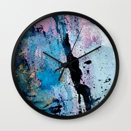 Breathe [3]: colorful abstract in black, blue, purple, gold and white Wall Clock