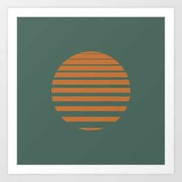 Orange Sun on Sage Art Print