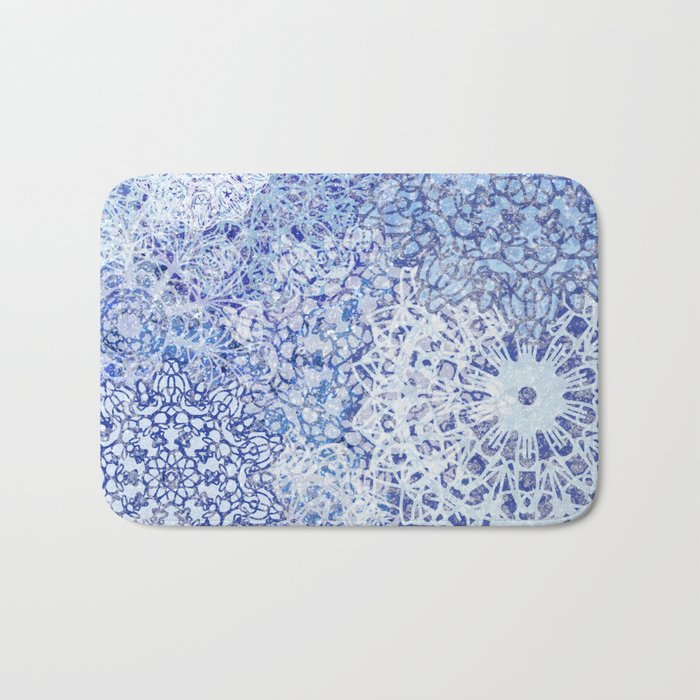 BLue Blizzard Mandalas Bath Mat