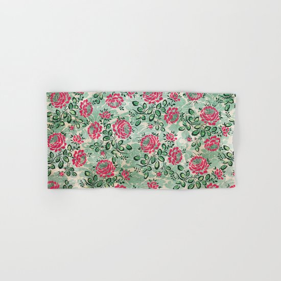 Retro French Floral Pattern Hand & Bath Towel