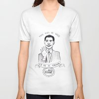 dale cooper V-neck T-shirts featuring DALE COOPER : THIS PIE IS SO GOOD IT IS A CRIME by Adrianna Ojrzanowska