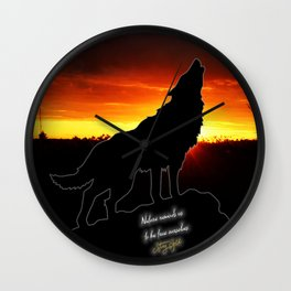 Stay Gold Lone Wolf Wall Clock