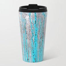 Birch Trees in Blue Travel Mug