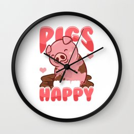 Adorable Pigs Make Me Happy You? Not So Much Wall Clock