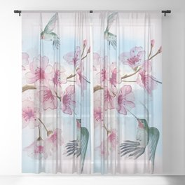 Cherry Blossom and Hummingbirds Sheer Curtain