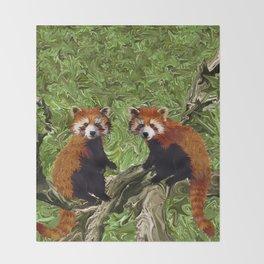 Frolicking Red Pandas Throw Blanket