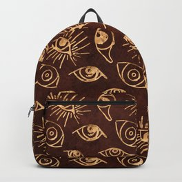 Golden Eyes With Eyelashes on Sienna Brown Pattern Backpack