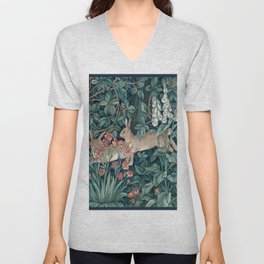 William Morris Forest Rabbits and Foxglove Greenery Unisex V-Neck