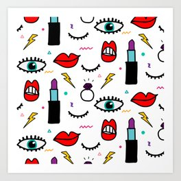 Abstract Eye and Cosmetics Art Print