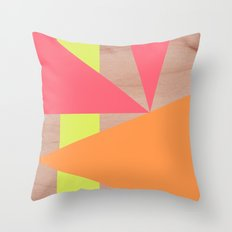 Maple Wood Abstract (Pink & Orange) Throw Pillow