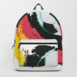 Football ball and red, yellow strokes Backpack