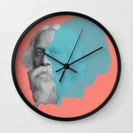 Rabindranath Tagore portrait - orange blue Wall Clock