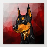doberman Canvas Prints featuring Doberman by Ruveyda & Emre