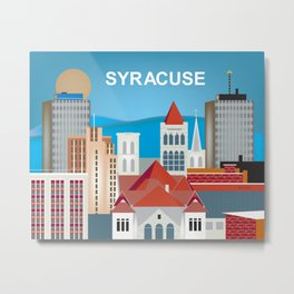 Syracuse, New York - Skyline Illustration by Loose Petals Metal Print