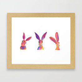 HaRe RaBBiT BuNNY PRiNT ' THe HaPPY HaReS ' BY SHiRLeY MacARTHuR Framed Art Print