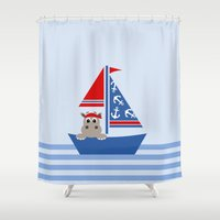hippo Shower Curtains featuring Hippo by Limitation Free