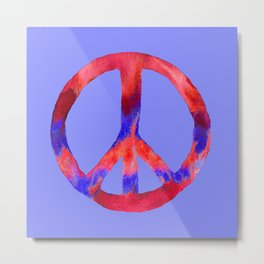 Patriotic Peace Sign Tie Dye Watercolor on Blue Metal Print