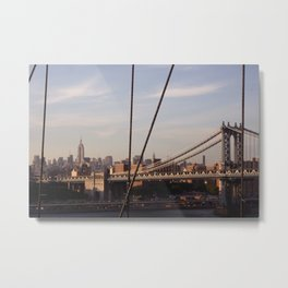 The Empire State Building and the Manhattan Bridge Metal Print