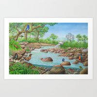 river Art Prints featuring  river  by Amy Fan