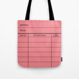 LiBRARY BOOK CARD (melon) Tote Bag
