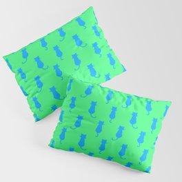 Polka Dot Pattern Pop Art Cat In Blue and Lime Pillow Sham