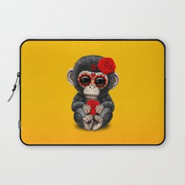 Red and Yellow Day of the Dead Sugar Skull Baby Chimp Laptop Sleeve