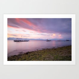Long exposure shot of the magnificent sunset at the beach Art Print