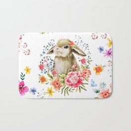 Little bunny watercolor illustration Bath Mat