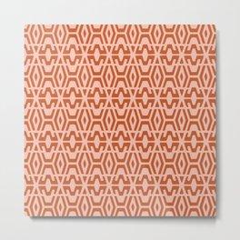 Geometric Art, Aztec Prints, Terracotta and Coral, Wall Art Boho Metal Print