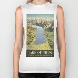 Vintage poster - Lake of Thun Biker Tank