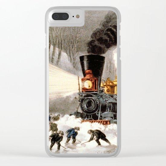 Snow Bound: Vintage Railroad Scene Clear iPhone Case