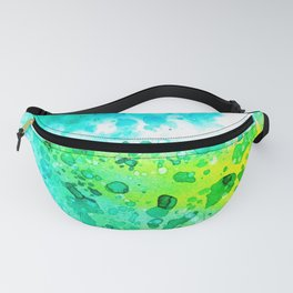 Watercolor abstract art in yellow,turquoise and green Fanny Pack