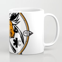 Angry Moose Crossed Ice Pick Axe Pararescue Mascot Coffee Mug