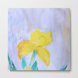 yellow summer iris 2 . Gift Ideas for Him and Her Metal Print