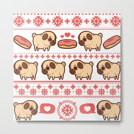 Puglie Christmas Sweater (Red) Metal Print