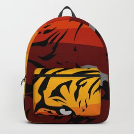 Tiger pattern animal design flat texture colorful landscape safari sihouette red yellow orange color Backpack