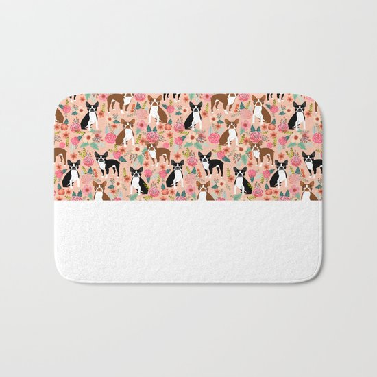 Boston Terrier cute floral pattern spring summer happy pet portrait dog person gift must haves dogs Bath Mat