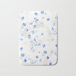 blue abstract hydrangea pattern Bath Mat