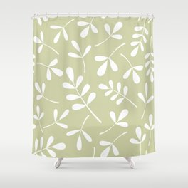 Assorted Leaf Silhouettes White on Lime Shower Curtain