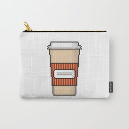 Coffee to go pixel art on white background. Carry-All Pouch