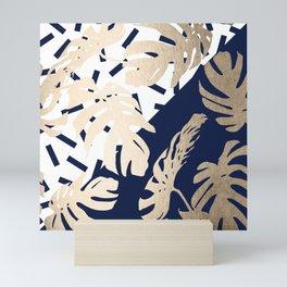 Simply Tropical Nautical Navy Memphis Palm Leaves Mini Art Print