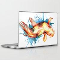 koi fish Laptop & iPad Skins featuring Koi Fish by Sam Nagel