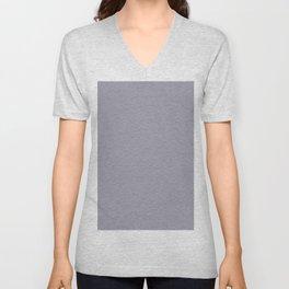 Pantone Lilac Gray Multi Striped Tiny Scallop Wave Pattern Unisex V-Neck