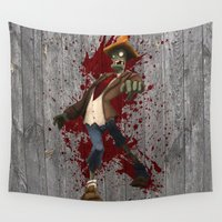 zombies Wall Tapestries featuring Plants Vs Zombies by Roe Mesquita
